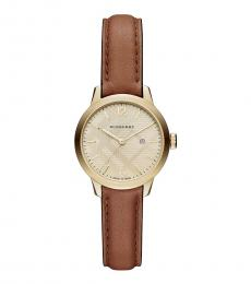 Burberry Tan Classic Gold Dial Watch
