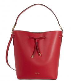 Ralph Lauren Red Debby Medium Bucket Bag