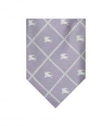 Burberry Light Purple Plaids Logo Tie