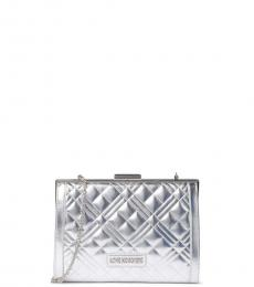 Love Moschino Silver Quilted Clutch