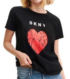DKNY Black Crackle Heart Logo Tee