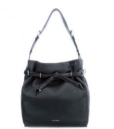 Black Solid Medium Bucket Bag