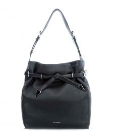 Karl Lagerfeld Black Solid Medium Bucket Bag