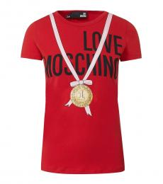 Love Moschino Red Crew Neck Cotton T-Shirt