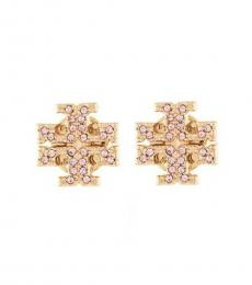 Tory Burch Gold-Pink Crystal Stud Earrings