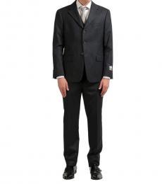 Grey Cashmere Striped Three Piece Suit