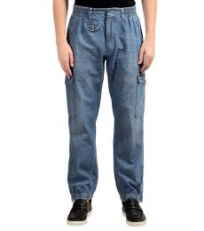 Dolce & Gabbana Blue Denim Cargo Pants
