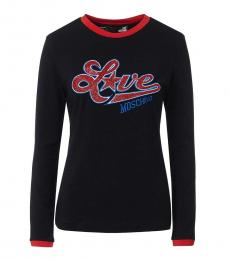Love Moschino Black Contrast Crew Neck Top