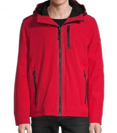 Calvin Klein Red Fur-Lined Hooded Jacket