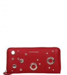 Alexander McQueen Red Vintage Zip Wallet