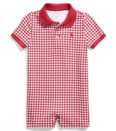 Ralph Lauren Baby Boys Sunrise Red Gingham Polo Shortall