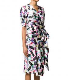 Marc Jacobs Multi Logo Print Wrap Dress
