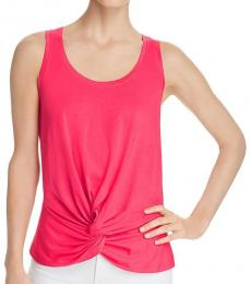 7 For All Mankind Hot Pink Twist Front Tank Top