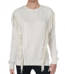 Ralph Lauren Winter Cream Fringe Sweater