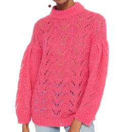 Begonia Pink Pointelle Stitch Sweater