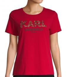 Red Beaded Logo Tee
