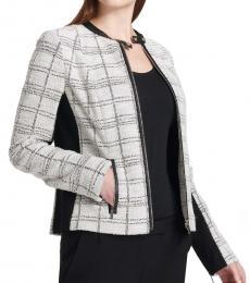 Calvin Klein Metallic Tweed Center Zip Jacket