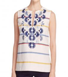Tory Burch White Twill Embroidered Tunic Top
