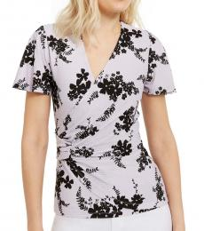 Michael Kors Light Purple Floral-Print Side-Ruched Top