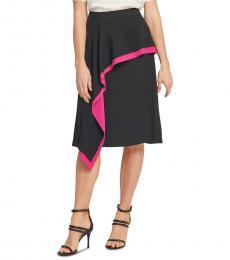 DKNY Black Asymmetrical Ruffled Skirt