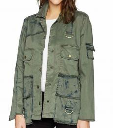 True Religion Green Mixed Military Jacket