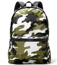 Michael Kors Olive/White Camo Kent Large Backpack