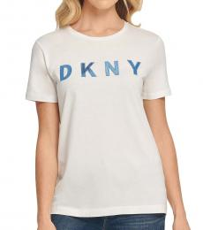 DKNY White Sequin Logo-Graphic T-Shirt