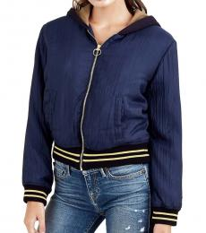True Religion Insignia Blue Patched Hoodie Jacket
