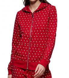True Religion Ruby Red Monogram Zip Hoodie