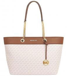 Michael Kors Vanilla Brown Shania Chain Large Tote