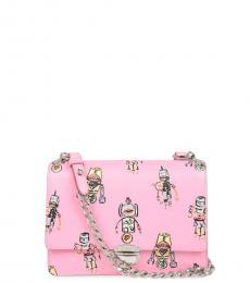 Pink Robot Print Small Shoulder Bag