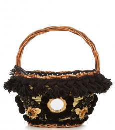 Black Straw Mini Bucket Bag