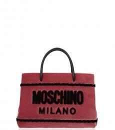 Moschino Pink Velvet Logo Small Satchel