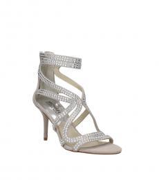 Grey Silver Rhinestone Heels