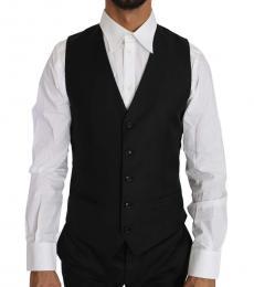 Dolce & Gabbana Black Wool Silk Waistcoat Vest