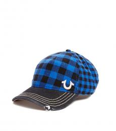 True Religion Royal Blue Plaid Check Cap