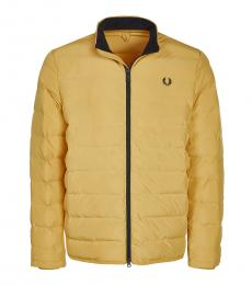 Fred Perry Mustard Logo Embroidery Quilted Jacket