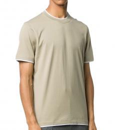 Brunello Cucinelli Taupe Cotton Two-Tone T-Shirt