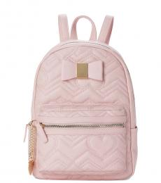 Betsey Johnson Blush Bow Quilted Medium Backpack