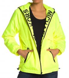 Michael Kors Neon Yellow Hooded Logo Plush Jacket