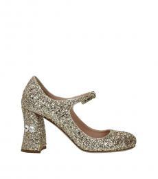 Gold Glitter Ankle Strap Heels
