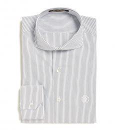 Roberto Cavalli White Pinstripe Slim Fit Dress Shirt
