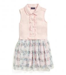 Calvin Klein Little Girls Pink Floral Collared Sleeveless Dress
