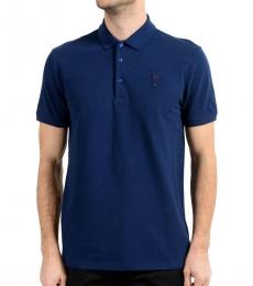 Versace Collection Indaco Blue Medusa Patch Polo