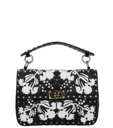 Valentino Garavani Black Rockstud Floral Medium Shoulder Bag