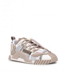 White Beige Drawstring Sneakers