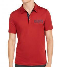 Ruby Red Stretch Logo Polo