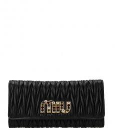 Black Embellished Logo Wallet