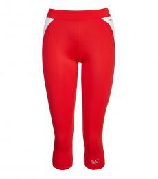Emporio Armani Red Crossfit Activewear Leggings