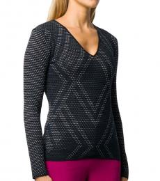 Emporio Armani Navy Blue Open-Knit Argyle Top